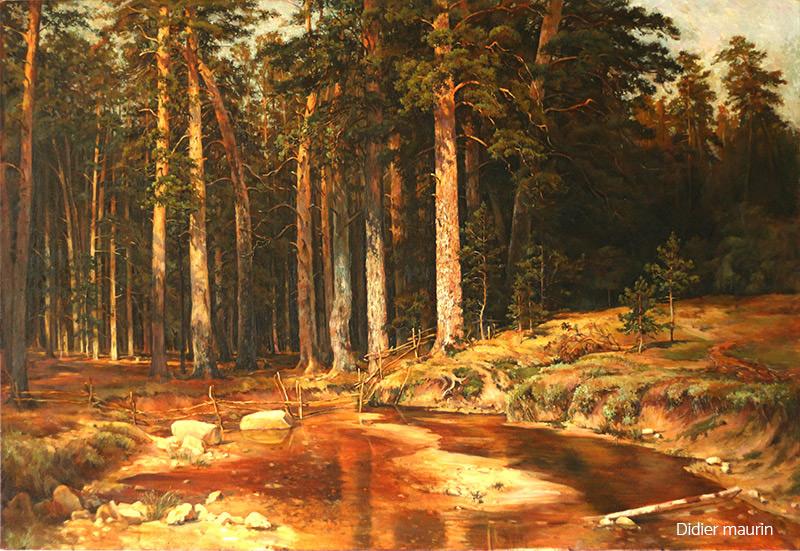 paysage sous bois - huile sur toile - Didier Maurin